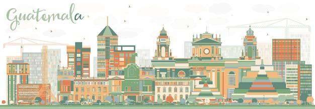 Streszczenie panoramę gwatemali z kolorowymi budynkami. ilustracja wektorowa. podróże służbowe i koncepcja turystyki z nowoczesną architekturą. obraz banera prezentacji i witryny sieci web.