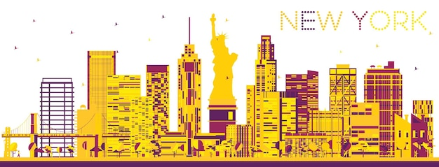 Streszczenie panoramę nowego jorku z kolorowymi budynkami. ilustracja wektorowa. podróże służbowe i koncepcja turystyki z nowoczesną architekturą. obraz na baner prezentacyjny i witrynę internetową