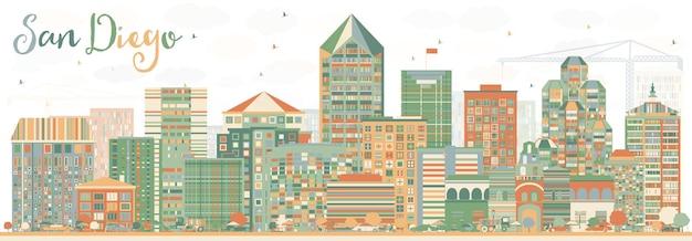 Streszczenie panoramę san diego z kolorowymi budynkami. ilustracja wektorowa. podróże służbowe i koncepcja turystyki z nowoczesną architekturą. obraz banera prezentacji i witryny sieci web.