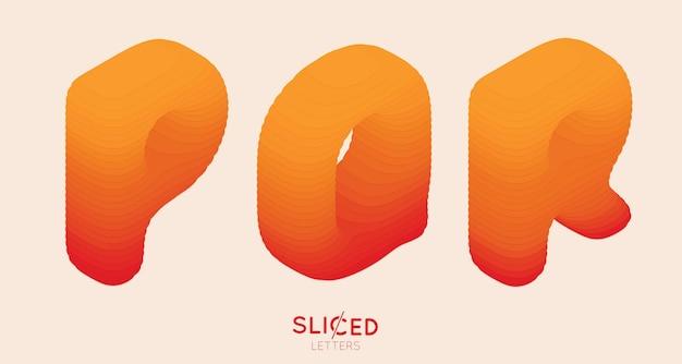 Streszczenie papieru pokrojone w plasterki litery z gradientem kolorów.