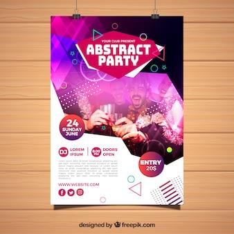 Streszczenie party plakat szablon z geometrycznych kształtów