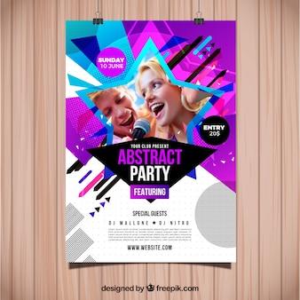 Streszczenie party plakat szablon ze zdjęciem