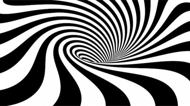 Streszczenie pasiaste tło. kształt wiru lub wiru. ilustracja 3d złudzenie optyczne. monochromatyczny falisty wzór.