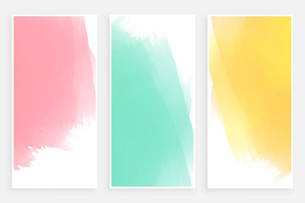 Streszczenie pastelowych szablonów banerów akwarela