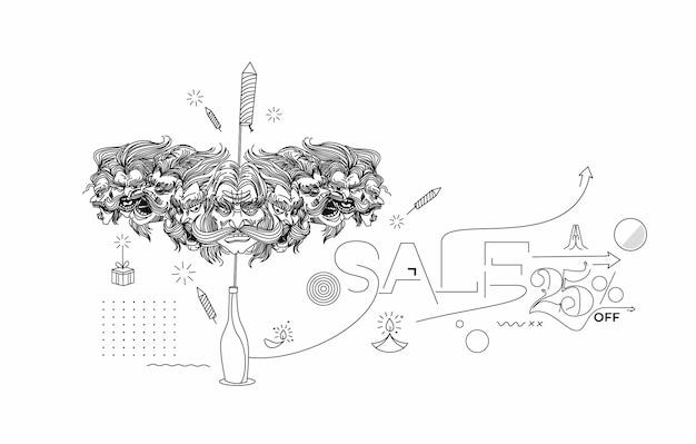 Streszczenie petardy rakietowe w doniczce z dziesięcioma głowami ravany z tekstem happy dasera - plakat banner vector design.