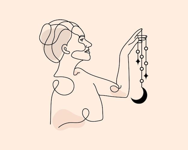 Streszczenie piękna kobieta magiczna linia ilustracja niebiańska magia linia sztuki ręka półksiężyc gwiazda księżyc