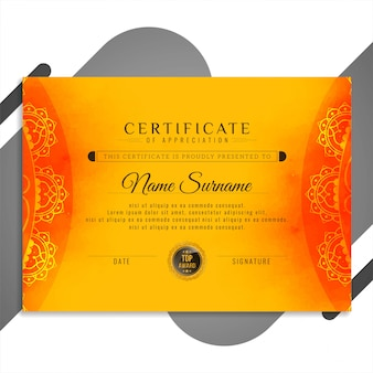 Streszczenie piękny projekt certyfikatu