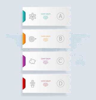 Streszczenie pionowe infografiki 4 kroki