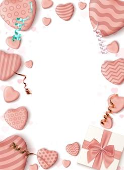 Streszczenie pionowy szablon projektu plakatu z realistycznymi cukierkowymi serduszkami, niebieską kokardą, wstążkami i pudełkiem na białym tle.
