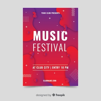 Streszczenie plakat efekt płynny festiwal muzyki szablon
