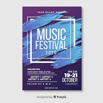 Streszczenie plakat festiwal muzyczny szablon farby