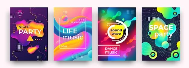 Streszczenie plakat gradientu. żywe kolory i płynne kształty, plakat klubu nocnego, muzyka, ulotka z festiwalem tańca