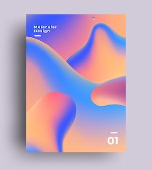 Streszczenie plakat płynnych kolorów gradientu płynnych