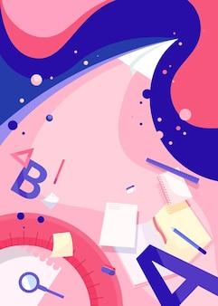Streszczenie plakat szablon z papierowym samolotem. sztuka koncepcyjna szkoły.