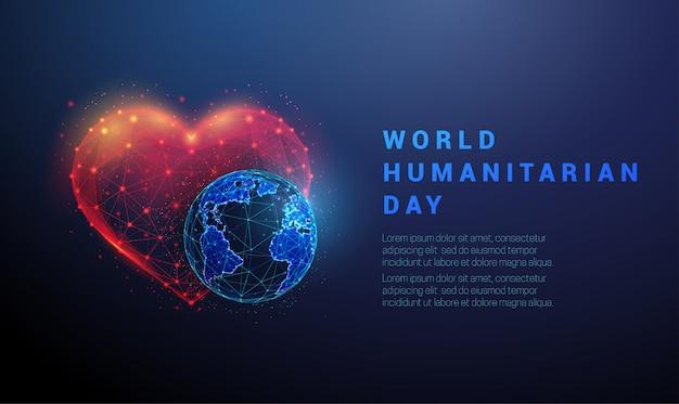Streszczenie planeta ziemia i serce. szablon światowego dnia humanitarnego
