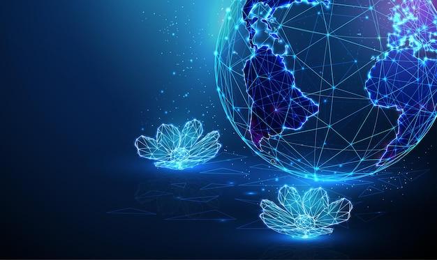 Streszczenie planeta ziemia z kwiatami na wodzie koncepcja spa wektor w stylu low poly