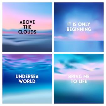 Streszczenie plaża zestaw niewyraźne tło. kwadrat rozmyte tło zestaw - niebo chmury morze ocean plaża kolory
