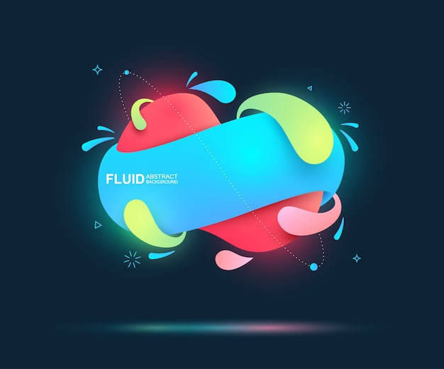 Streszczenie płyn i nowoczesne elementy. dynamiczne kolorowe formy i linie.