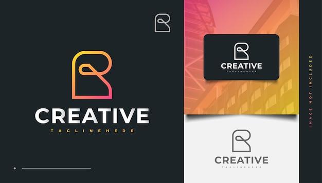 Streszczenie początkowe litery r logo design w stylu linii. projektowanie logo dla budownictwa, architektury lub budynku