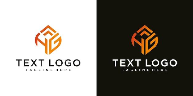 Streszczenie początkowej litery hg hg minimalny szablon projektu logo