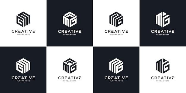 Streszczenie początkowej litery mg mg minimalny szablon projektu logo
