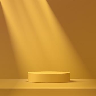 Streszczenie podium cokole z żółtą musztardą cylindra światłem