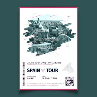 Streszczenie podróży plakat ze zdjęciem hiszpanii