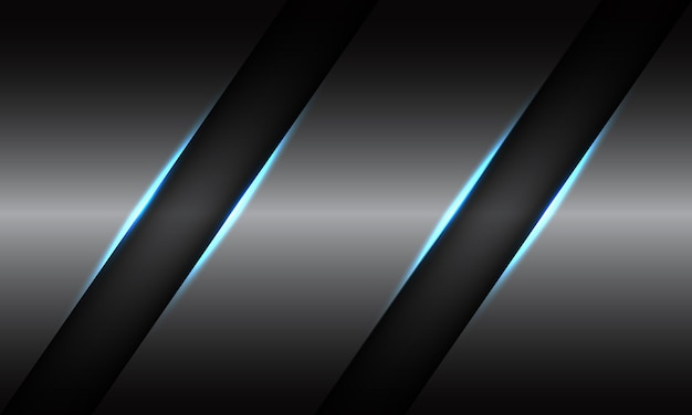 Streszczenie podwójna czarna linia niebieskie światło slash na szarym tle metalu.