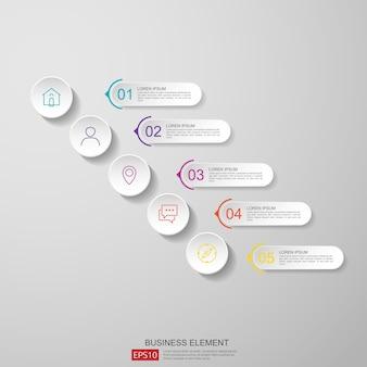 Streszczenie pół koła dla biznesu infografikę koncepcja z chmury i budynku w tle.