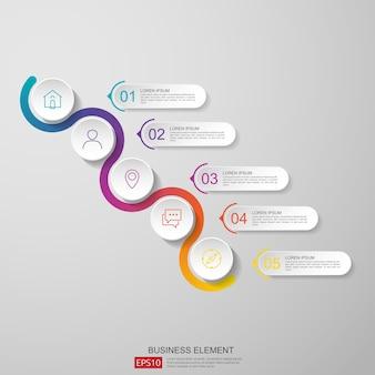 Streszczenie pół koła dla biznesu infografikę koncepcji