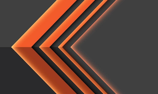 Streszczenie pomarańczowy strzałka kierunek światła cień geometryczny na szarym futurystycznym tle technologii