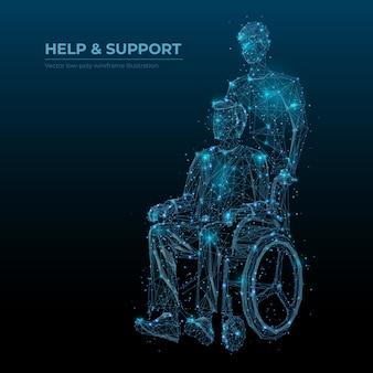 Streszczenie pomocy i wsparcia wektor banner technologii szkieletowej low poly. osoby niepełnosprawne opiekują się mediami społecznościowymi postami wielokątnymi. nieprawidłowy w wózku inwalidzkim, siatka 3d dozorcy. wielokąty i połączone kropki
