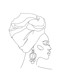 Streszczenie portret młodej afrykańskiej kobiety w minimalistycznym nowoczesnym stylu. rysowanie linii. -ilustracja wektorowa