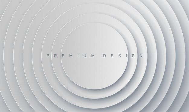 Streszczenie premium nowoczesny projekt papieru białe szare tło z wieloma okręgami na baner i okładkę