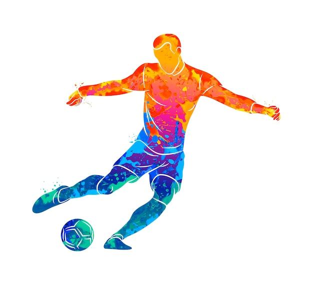 Streszczenie profesjonalny piłkarz szybko strzela piłkę z plusk akwareli. ilustracja farb