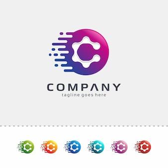 Streszczenie projektowanie logo litera c z linii i kropki
