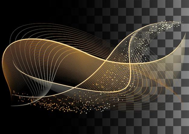 Streszczenie projektu element złoty kolor efekt ilustracji wektorowych na przezroczystym tle.