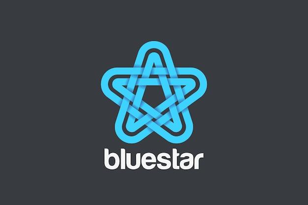 Streszczenie projektu logo gwiazdy. liniowy styl wstążki