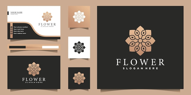 Streszczenie projektu logo kwiatu ze złotymi gradientowymi kolorami i projektem karty businnes premium wektornes