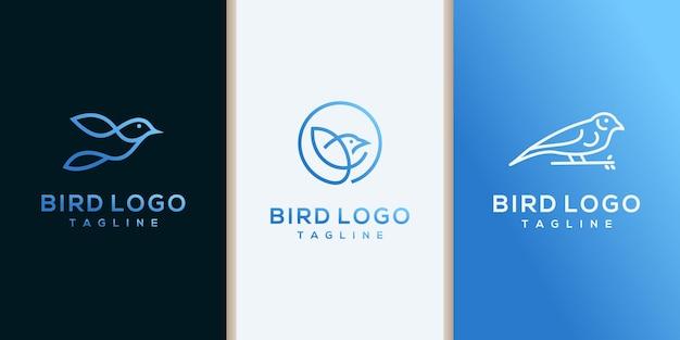 Streszczenie projektu logo ptak. styl liniowy. gołąb wróbel siedzący logotyp