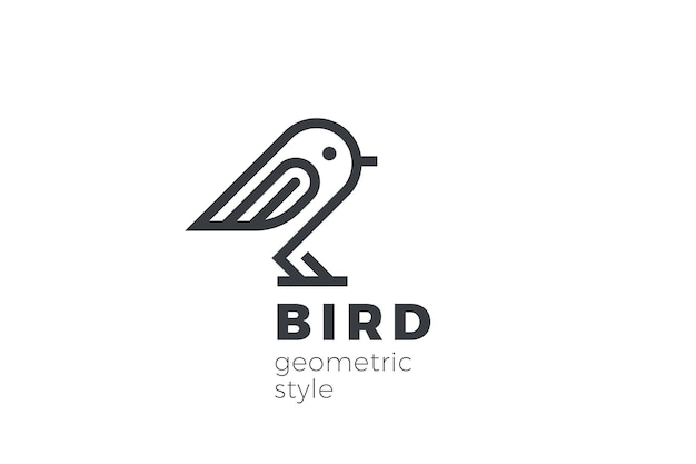 Streszczenie projektu logo ptaka. styl liniowy. dove sparrow siedzi logotyp