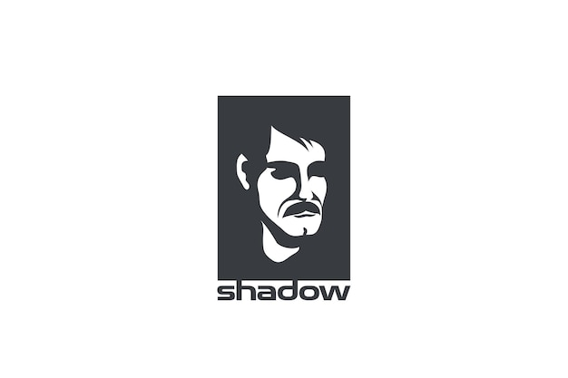 Streszczenie projektu logo twarzy człowieka. negatywny styl przestrzeni.