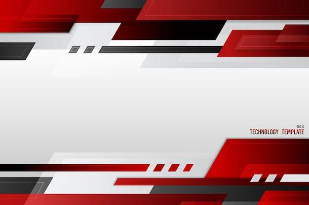 Streszczenie projektu okładki technologii szablonu nagłówka gradientu czerwony czarno-biały. projekt dla nowoczesnych dekoracyjnych przestrzeni kopii tła tekstu.