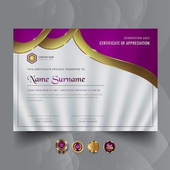 Streszczenie projektu szablonu nagrody certyfikatu