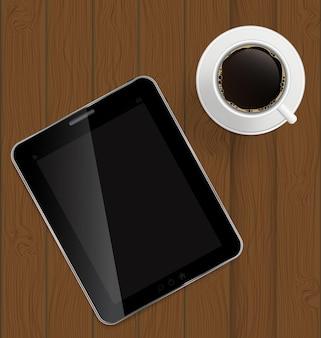 Streszczenie projektu tabletka, kawa na deskach tło wektor ilustracja.
