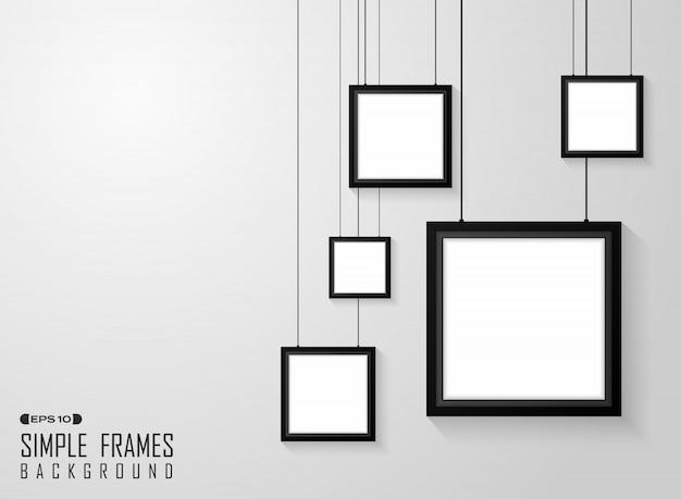 Streszczenie prosty wzór kwadratowych czarnych ramek