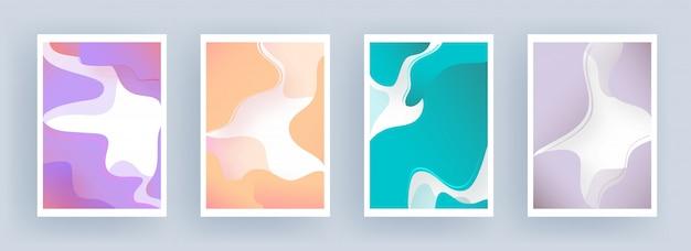 Streszczenie przepływu cieczy lub płyn sztuki w tle w czterech kolorach.