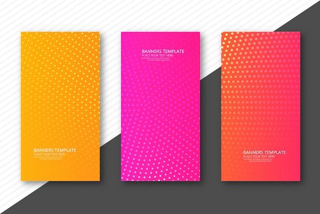 Streszczenie przerywaną kolorowe banery zestaw szablonu projektu