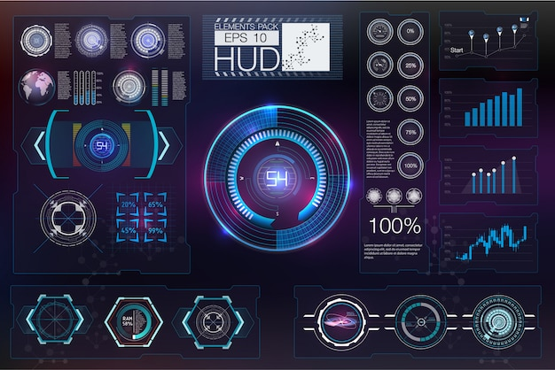 Streszczenie przyszłości hud futurystyczny niebieski wirtualny plansza.