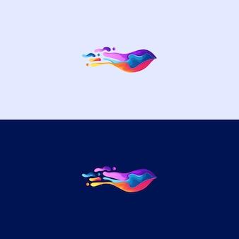 Streszczenie ptak rozpryski premium logo ilustracja